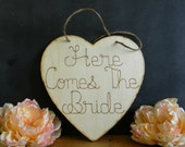 Here Comes The Bride Wood Heart Sign Wood Burned Engraved Rustic Sign Custom Personalized