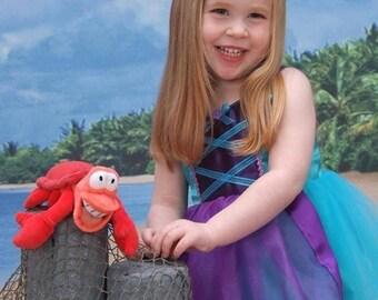 Little Mermaid Costume Dress: purple and teal, Birthday Princess Party, twirly tutu dress, Princess Dinner or Trip, Halloween costume, Ariel