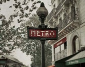 Paris Photography, Travel, Metro Sign, Paris Print, Red, Green, Beige, Rustic, French, Architecture Art, Office Decor