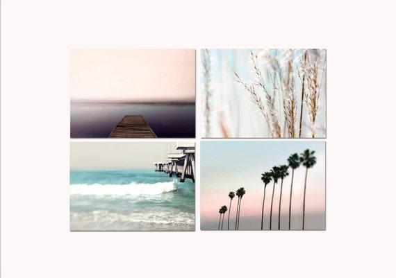 Pastel Beach Print Set 4 beach & ocean photo set pink blue white summer beach house decor summer print set