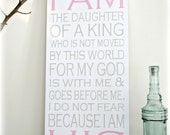 I am the Daughter of a King -- I AM HIS -- Hand Painted Wall Art --- Typography Sign-Christian Wall Art