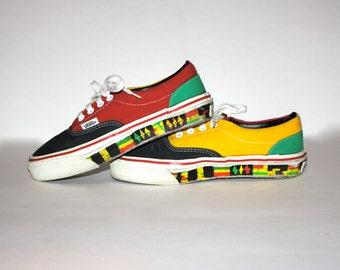 VANS RASTA Rare Vintage Sneakers Size Womens 6.5 - AUTHENTIC -