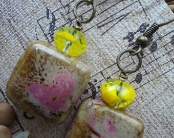 Pink and Brown Stone with Yellow Earrings