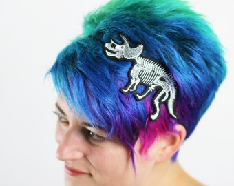 Tricertops Skeleton Dinosaur Headband, Choice of Colours, On Black