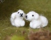Needle Felted Animal, TWO little lambs, felted sheep, Nativity Set, Waldorf Nativity, miniatures, Design by Borbala Arvai, made to order