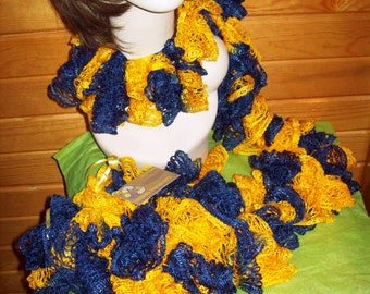 Blue and Gold Ruffle Scarf  WVU Mountaineers Team Spirit