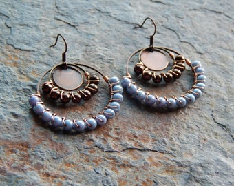 Beaded gypsy hoop earrings, wire wrapped chandelier earrings, chocolate brown and blue, colorblock, copper jewelry, gypsy earring