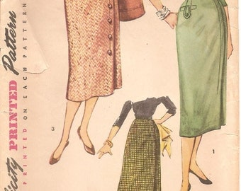 1950s One Yard Skirt Pattern - Vintage Simplicity 4817 - Waist 26