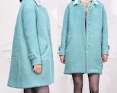 Sky blue double collar wool woolen coat