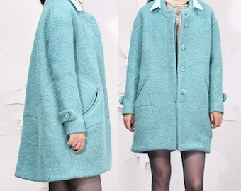 Sky blue double collar wool woolen coat