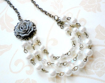 Chunky Pearl Necklace Grey Wedding Jewelry Gifts Rose Bridal Necklace Flower Bridesmaid Necklace Statement Wedding Jewelry Grey Necklace