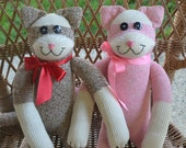 Sock Monkey Kitty Cat Doll with or without Personalized Heart Tattoo. Choice of Colors
