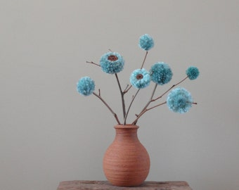 Pom Pom Flowers - Mother's Day - Turquoise Blue - Spring - Baby Nursery - Shower/Wedding Decor - Minimalist Centerpiece - Simple Arrangement