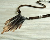 Suede and Ombre Copper Fringe Necklace