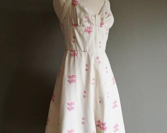 Vintage 50s Style HALTER Floral HANDMADE Dress (m)
