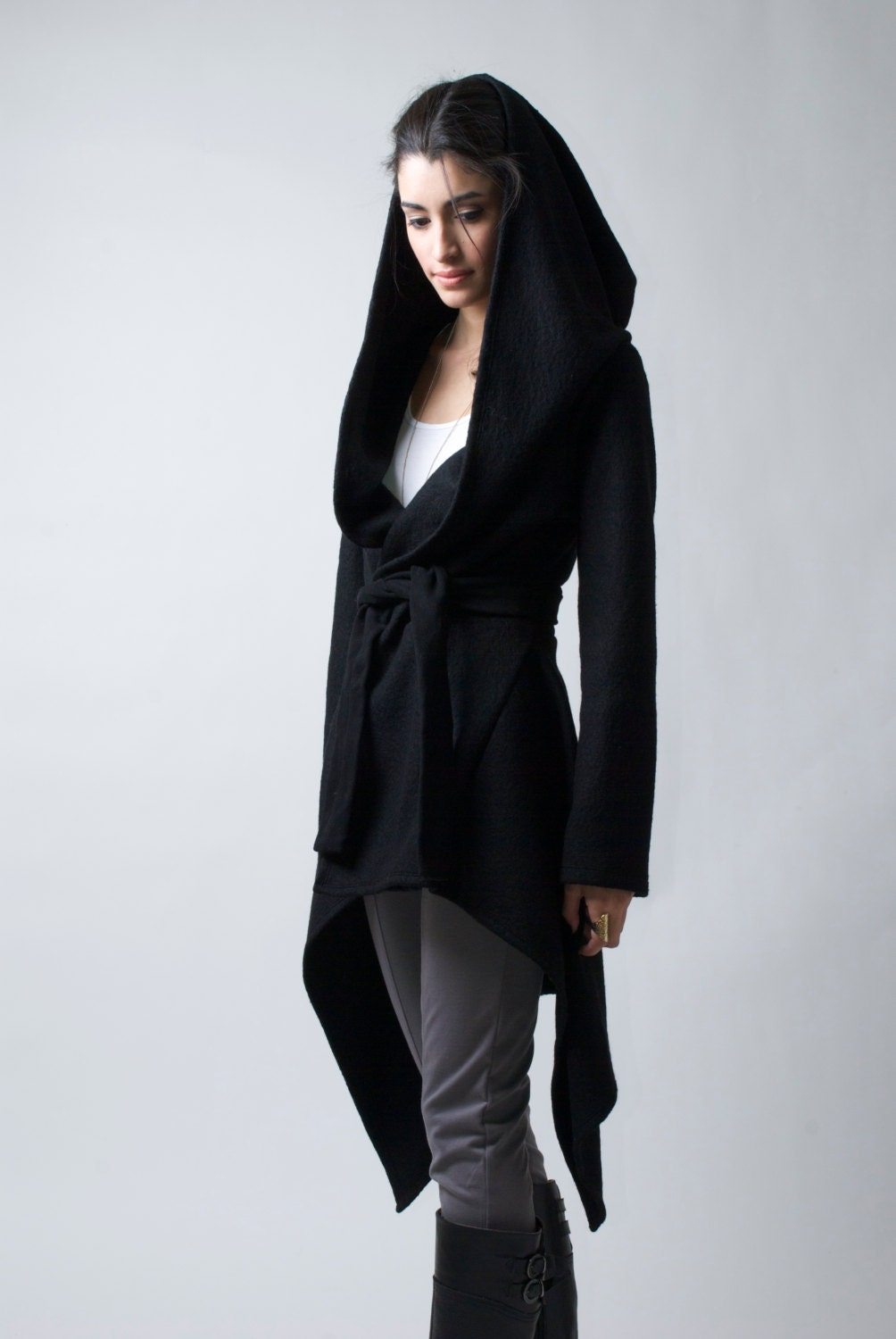 Black Coat with a Hood / Asymmetric Hoody Cardigan / Sweater