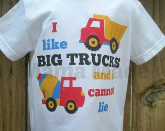I like big trucks and I cannot lie construction shirt with dump truck and cement truck Shirt or Bodysuit funny construction shirt
