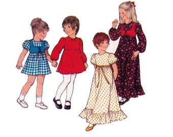 70s Girls Dress & Bolero Pattern Style 4876 Vintage Sewing Pattern Peasant Dress and Hippie Vest Size 6 Breast 25 inches UNCUT FF