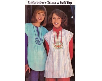 1970s Boho Embroidery Transfer Blouse Pattern Butterick 4934 Vintage Sewing Pattern Size Medium 12 - 14 UNCUT FF