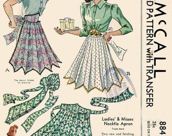1940s Necktie Apron Pattern McCall 884 One Size Original Vintage Sewing Pattern with TRANSFERS