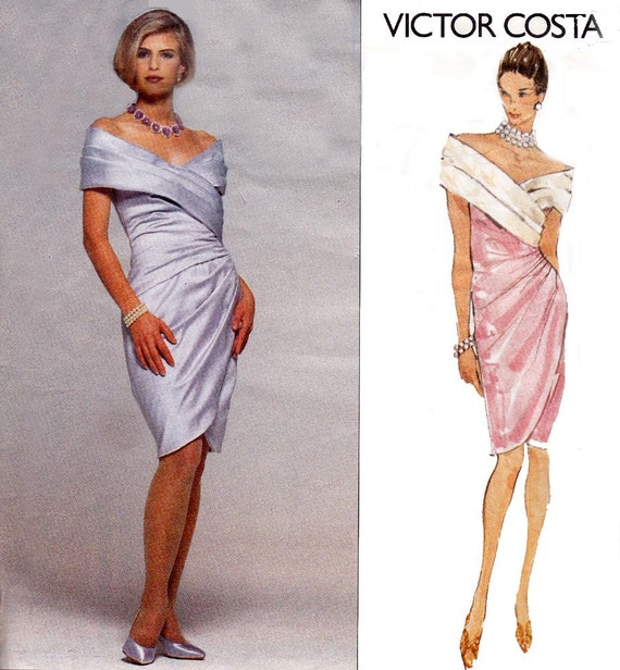 Draped Gown Pattern: VICTOR COSTA 90s Draped Evening Prom Dress Pattern Vogue