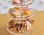 3 Tier Glass Cake Stand with French Pastries & Chocolate Cupcakes