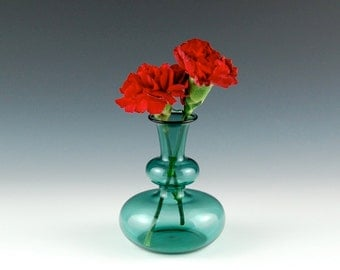 Hand Blown Glass Vase, Teal Bud Vase