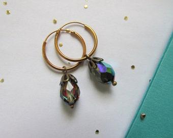 Teardrop Crystal Dangle Hoops with Mystic Vitrail Swarovski -earrings
