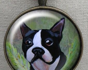 Boston Terrier Keychain ~ Dog Ornament ~ Pet Keepsake ~ June birthday ~ Gifts for Him ~ Dog Painting