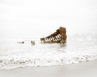 Nautical ship Photography oregon beach abandoned steel rust coast ocean ashore graveyard sailing vessel - The Peter Iredale - fine art photo