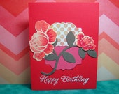 Happy Birthday Flowers in Rose Pink and White Handmade and Hand Stamped Card