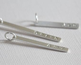 bar pendant, name pendant, stackable pendant, keepsake, mommy necklace, dainty sleek pendant, personalized jewelry - sterling silver