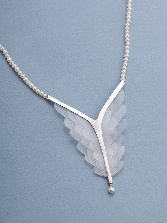 Wings Statement Necklace - statement necklace , silver necklace , bridal jewelry , for her , wings necklace , wedding necklace