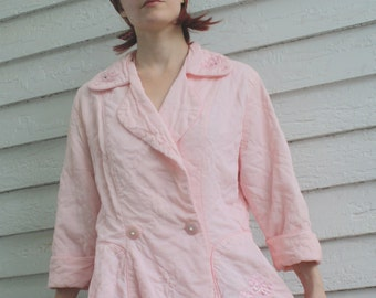 Pink Quilted Bed Jacket Vintage 50s Peplum New Look 1950s Pale M L
