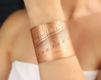 Lake Pontchartrain Etched New Orleans Jewelry - Cuff Bracelet of Historical Map in Copper