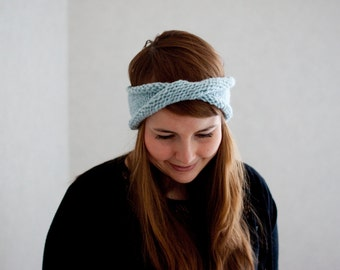 Twist headband in pastel blue hand knit ear warmer with sparkle hand knit accessories