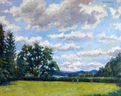 Tanglewood Afternoon. Original Oil Painting, 16x20 Plein Air American Impressionist Landscape, Signed Original Contemporary Realist Fine Art