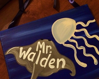 SALE - Teacher Gift Hand Painted Customized Custom Teacher Door Sign Hanger marine life sea life door sign