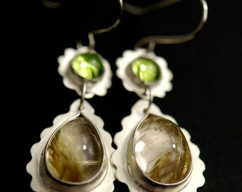 Peridot and Rutilated Quartz Earrings in Brushed Sterling Silver - statement jewelry - fine jewelry - ready to ship