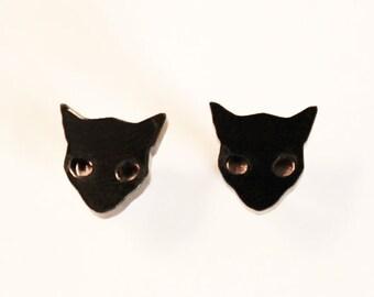 Cat Earrings / Black Cat Jewelry