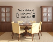 Vinyl Wall Decal this kitchen is seasoned with love with salt and pepper shakers - Love Wall Decal - Kitchen Vinyl Wall Decal