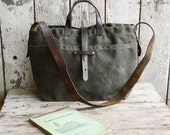 Waxed Canvas Tote: Moss by Peg and Awl