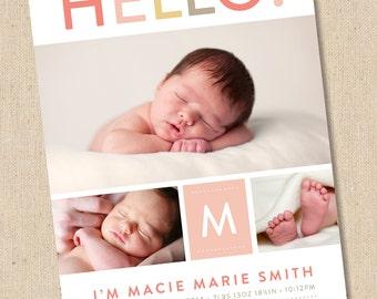 Hello - Modern Photo Birth Announcement - Baby Boy or Baby Girl