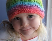 Made to Order Hand Knit Rainbow Waves Soft Wool Lace Girls Cloche Hat, Newborn - Child Sizes Available