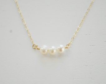 Three Pearls Necklace - tiny freshwater pearl beaded little sterling silver or gold filled - simple wedding or everyday jewelry