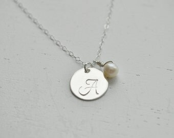Sterling Silver Monogram Initial Necklace - 1/2 inch disc circle round personalized charm hand stamped pendant gift simple everyday jewelry