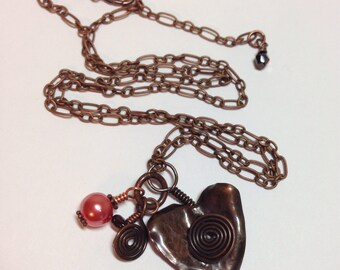 """Copper Heart Charm Necklace with Pearls Garnets Copper Charms 1.5"""" Long on Adjustable Antique Copper 22"""" Chain Previously 38 Dollars ON SALE"""
