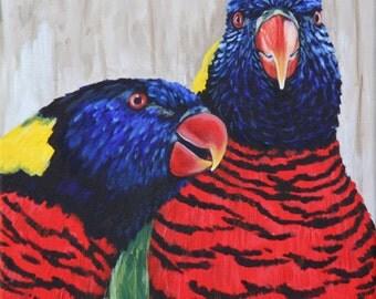 Parrot Painting - Rainbow Lorikeets - Green-Naped Lorikeets - Original Acrylic Bird Painting 12x12