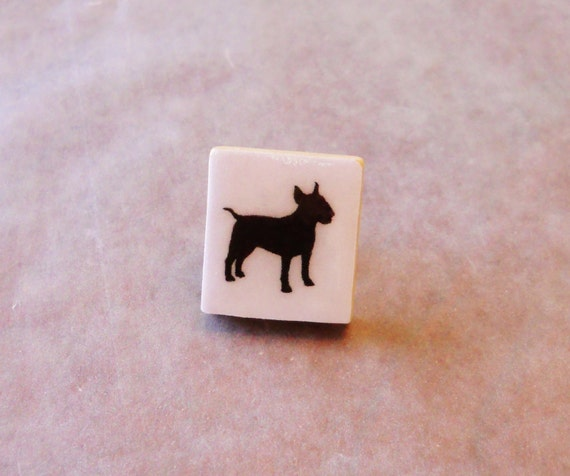 English Bull Terrier Tie Tack / Hat Pin / Lapel Pin -- Vintage Wooden Scrabble Game Tile -- Handmade, Unisex, Gift Boxed, Pet Dog Lover Gift