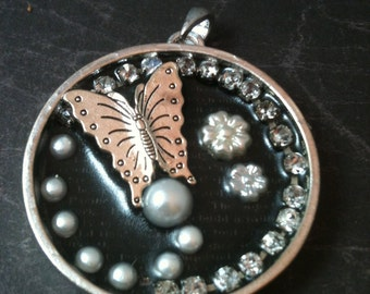 Crystal, Pearl and Butterfly Necklace